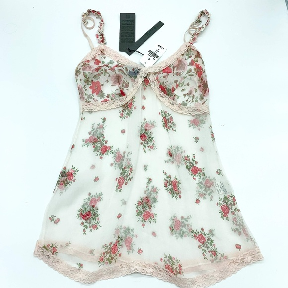 Poesia@ Other - Poesia@ Light Pink Sheer Silk Floral Camisole